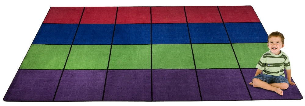 Blocks Seating Rug MULTI With 24 Squares - KidCarpet.com