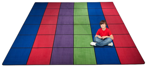 Blocks Seating Rug Multi With 36 Squares Kidcarpet Com