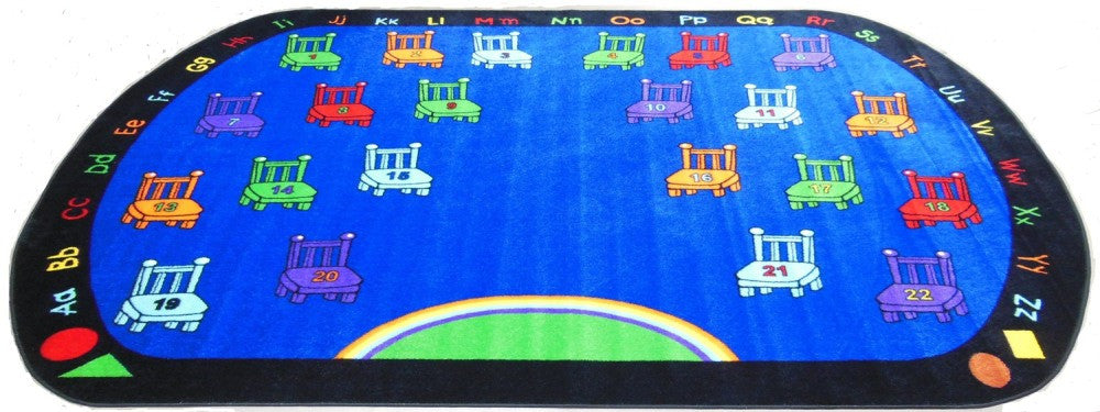 Chairs Classroom Rug With 22 Seats - KidCarpet.com