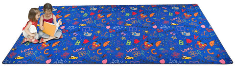 Playtime Doodle Wall to Wall Carpet Multi on Blue