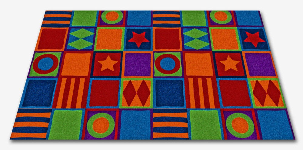 Patterned Squares Wall to Wall Carpet - KidCarpet.com