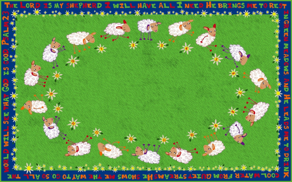 Little Lambs of God Circle Time Rug - KidCarpet.com