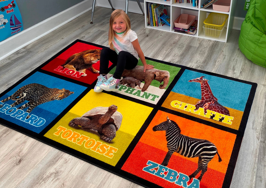 Animal Picture Squares Rug 6 - KidCarpet.com