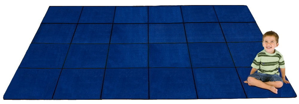 Blocks Seating Rug BLUE With 24 Squares - KidCarpet.com