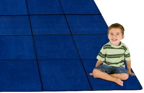 Blocks Seating Rug BLUE With 30 Squares - KidCarpet.com
