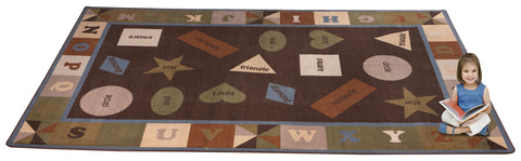 Colorful Shapes Rug With EARTH TONE Colors