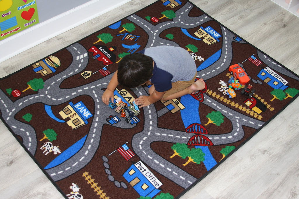 REVERSIBLE Kids Game / Country Roads Rug - KidCarpet.com