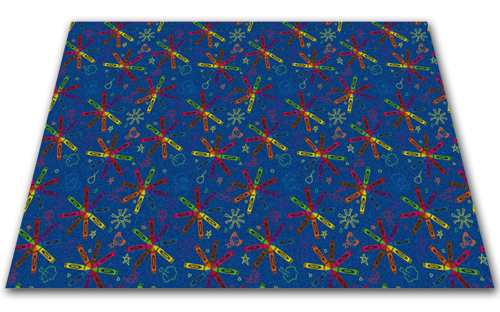 Crayon Scribbles Children's Wall to Wall Carpet Multi on Blue - KidCarpet.com