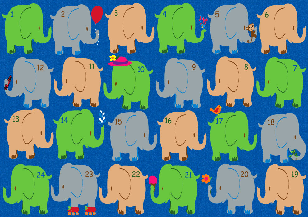 Elephant Seating Classroom Rug Bright - KidCarpet.com