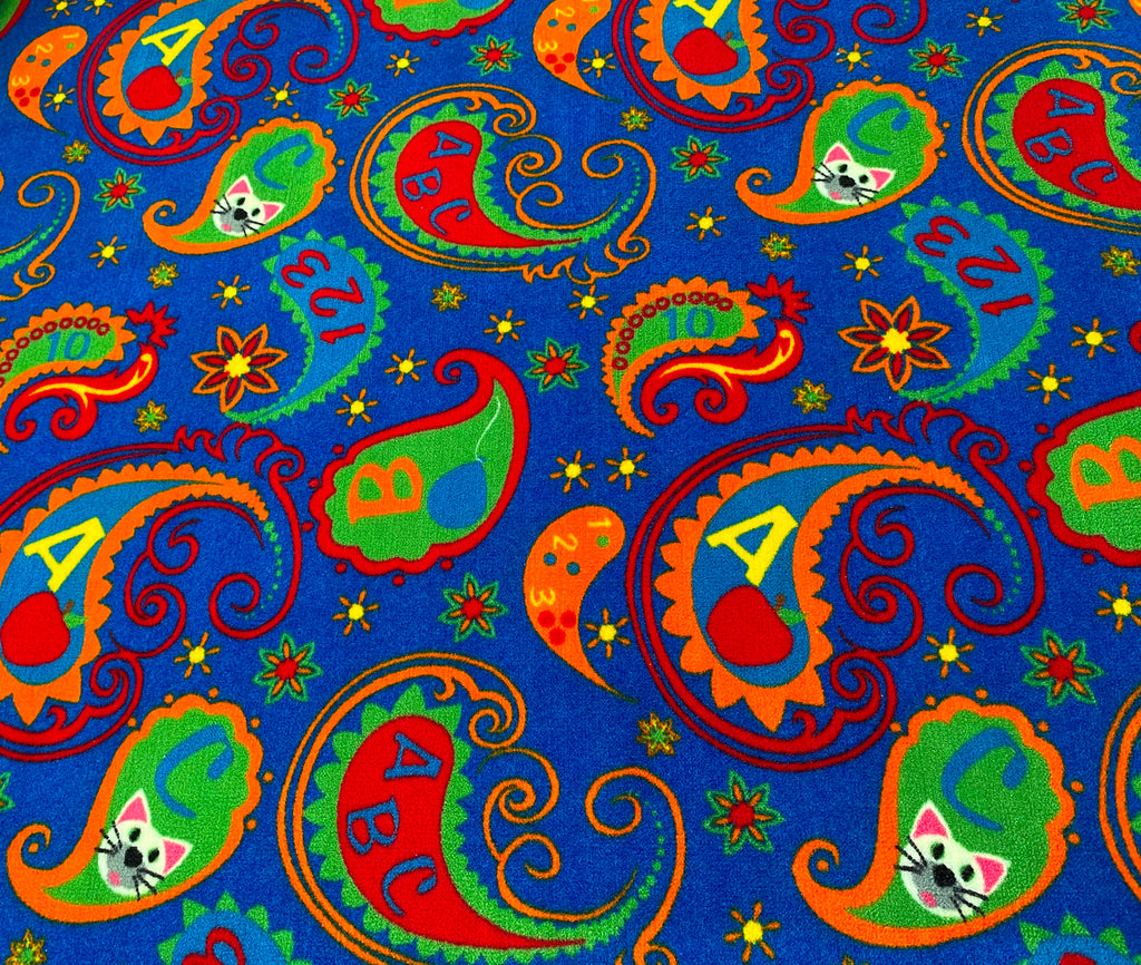 Paisley Wall to Wall Carpet With ABC - KidCarpet.com