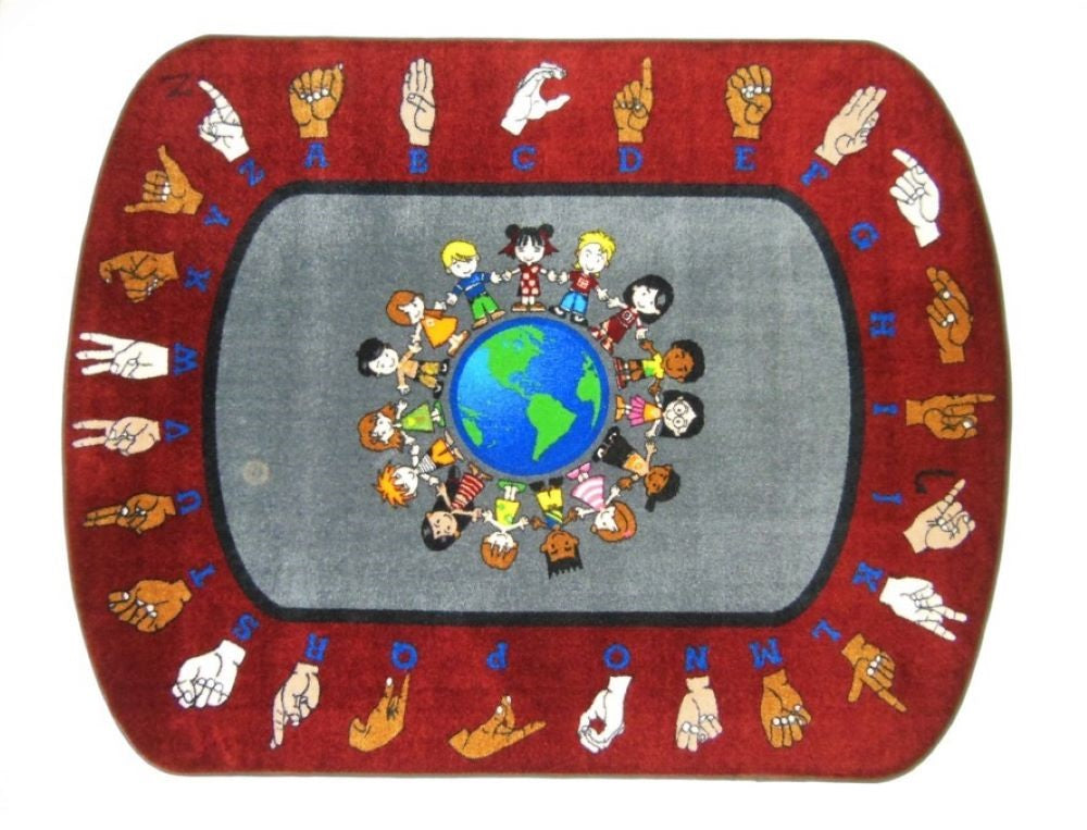 World Sign Alphabet Rug