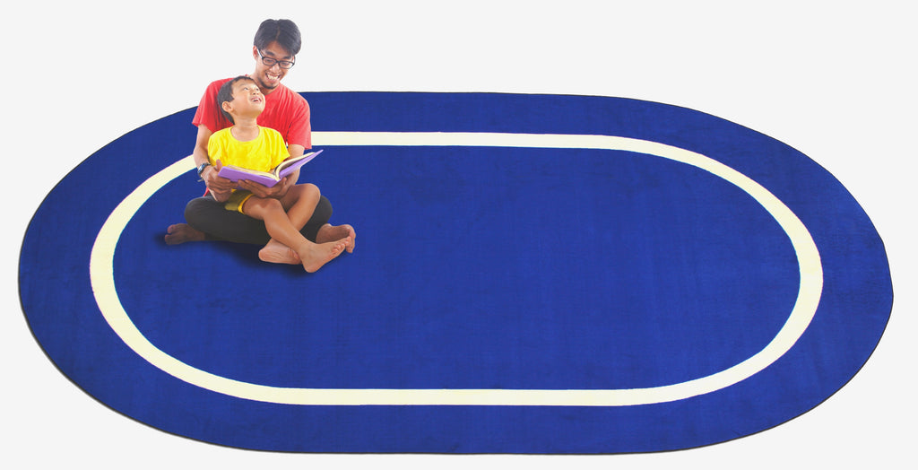 Montessori Classroom Rug Blue With Creme Line