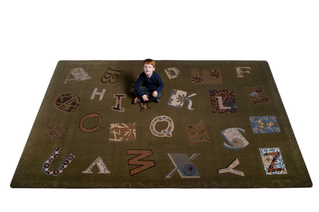 Patchwork ABC Rug EARTH TONE - KidCarpet.com