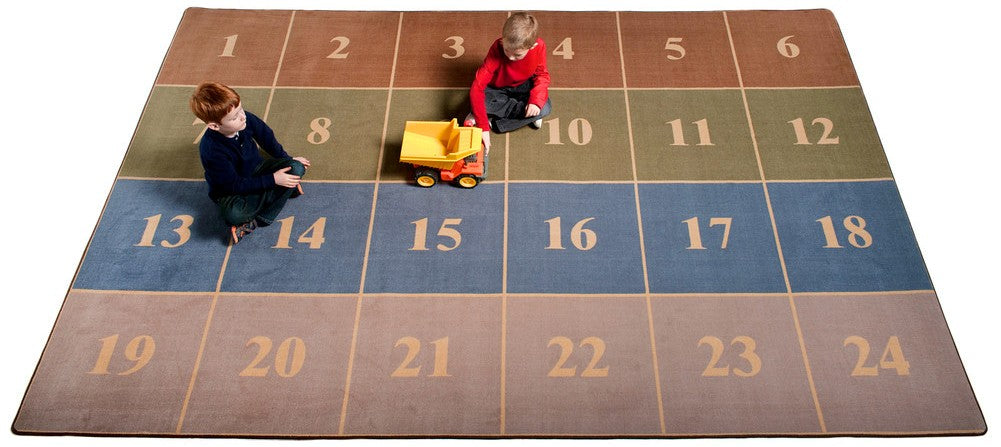 Classroom Seating Rug With 24 Squares EARTH TONE - KidCarpet.com