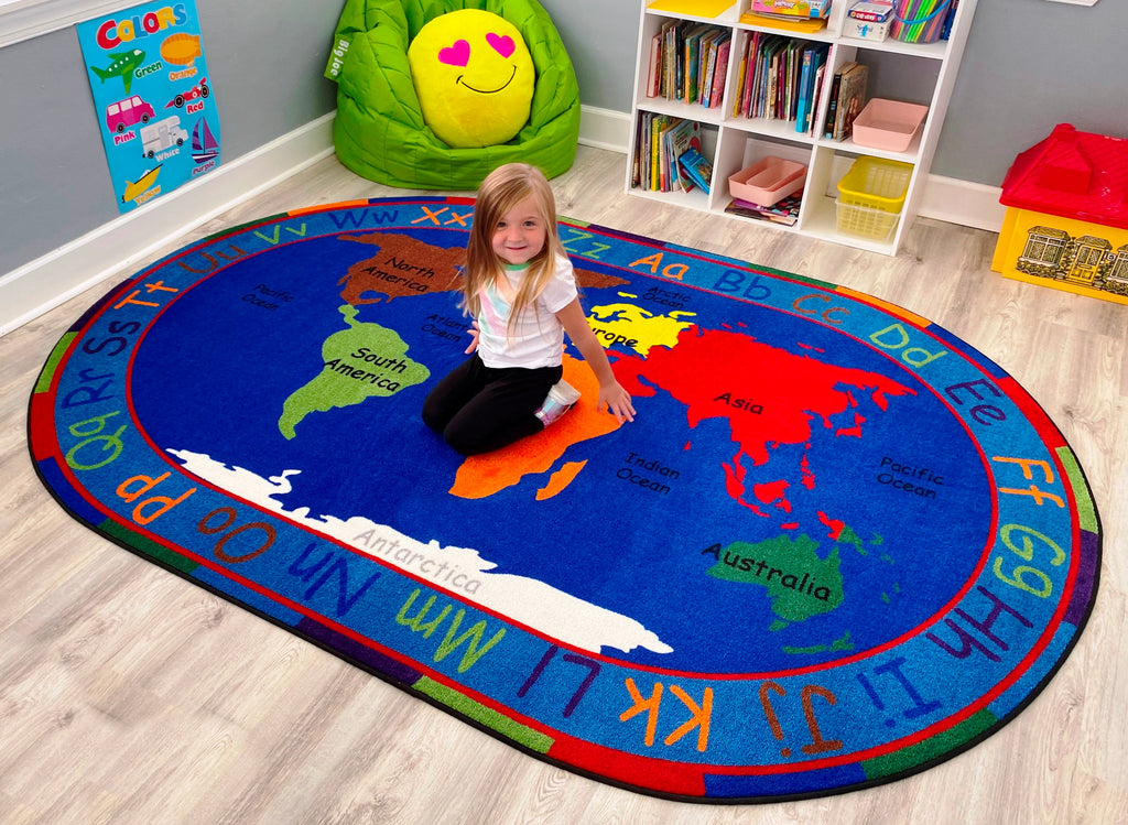 All Around The World Map Rug - KidCarpet.com