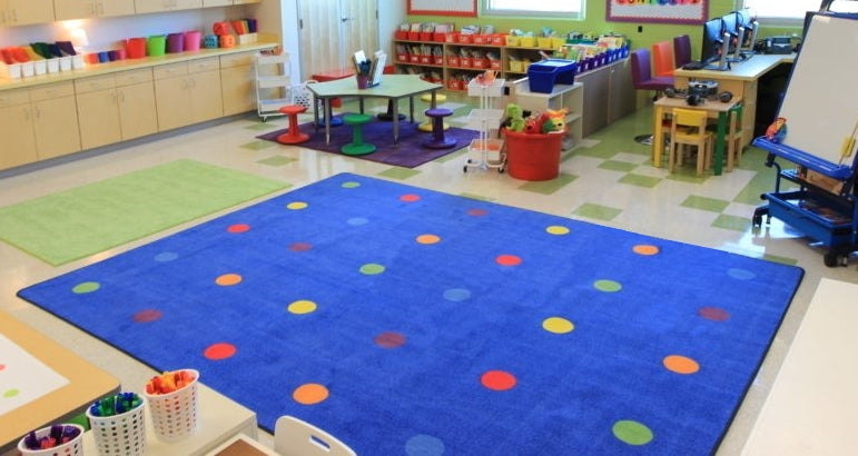 On the Spot Classroom Seating Rug Multi on Blue - KidCarpet.com