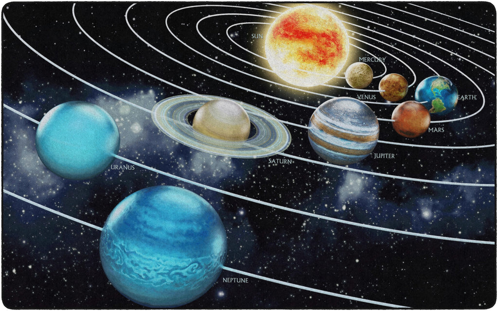 Traveling the Solar System Photo Rug - KidCarpet.com