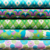 60'S SCRAPBAG  PURPLE/GREEN/AQUA - FQ Bundle of 5 - Ella Blue Fabrics
