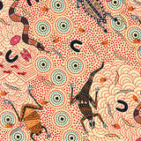 AROUND WATERHOLE ECRU by Aboriginal Artist NAMBOOKA