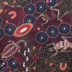 AROUND WATERHOLE RED by Aboriginal Artist NAMBOOKA