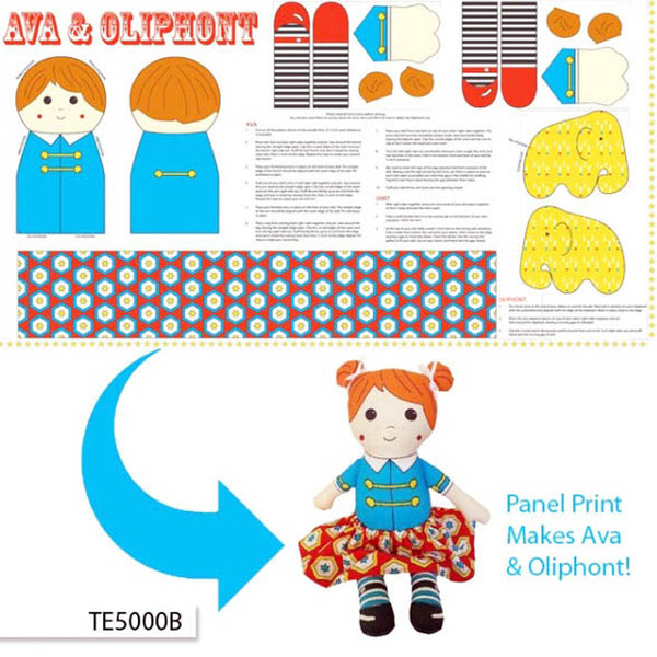 AVA & OLIPHONT Doll & Elephant Soft Toys - Printed Panel - Backyard Circus