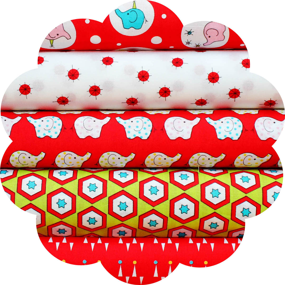 "BACKYARD CIRCUS RED - 20 Charm Squares 5"" x 5"""