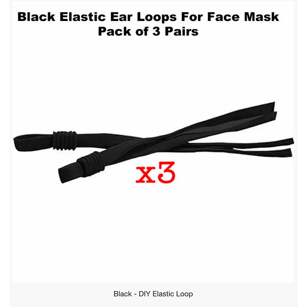 ELASTIC EAR LOOPS + NOSE STRIPS For DIY Face Masks - Pack of 3 Sets
