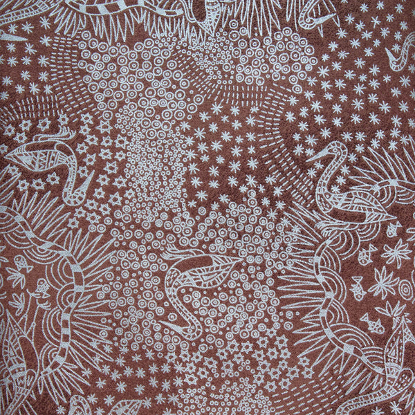 BROLGA LIFE BROWN (Brown & Metallic Silver) by Aboriginal Artist NAMBOOKA