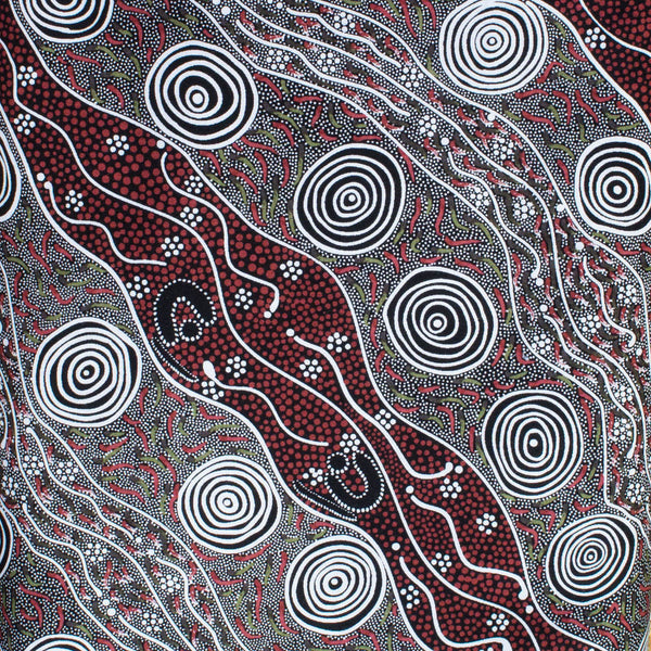 BUSH CAMP RED by Aboriginal Artist AUDREY NAPANANGKA