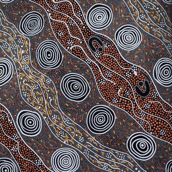 BUSH CAMP YELLOW by Aboriginal Artist AUDREY NAPANANGKA