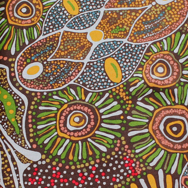 BUSH TUCKER AFTER RAIN GREEN by Aboriginal Artist MARLENE DOOLAN