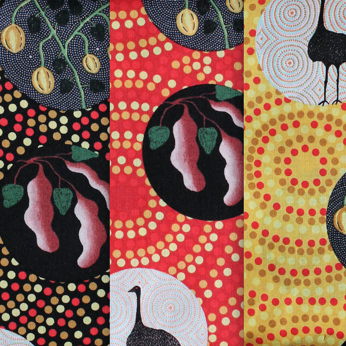BUSH TUCKER WITH WILD FIG YELLOW by Aboriginal Artist NATASHA STUART