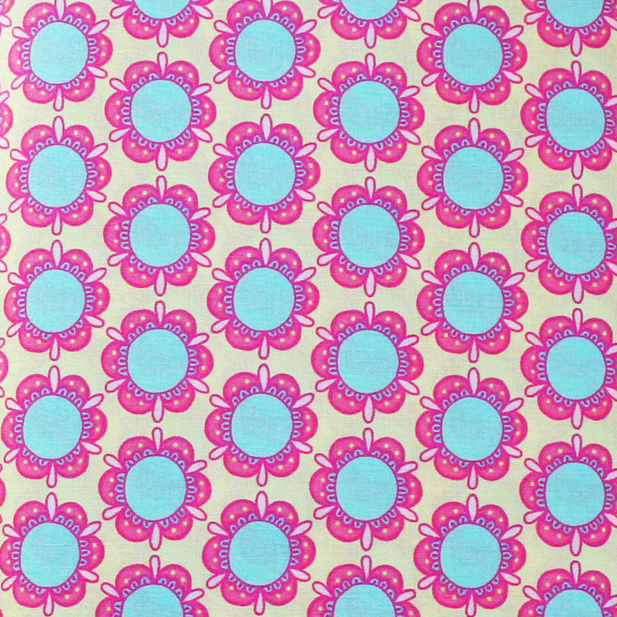 CIRCLE FLOWERS  Pink/Aqua/Yellow - Flower Child Collection by Rosalie Quinlan
