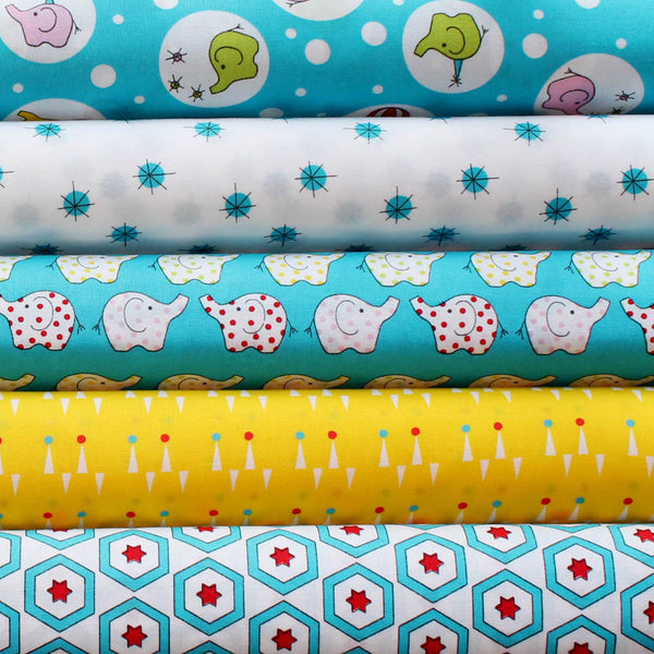 BACKYARD CIRCUS BLUE  - FQ Bundle of 5 - Ella Blue Fabrics
