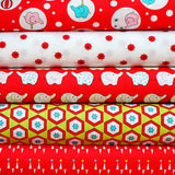 BACKYARD CIRCUS RED  - FQ Bundle of 5 - Ella Blue Fabrics