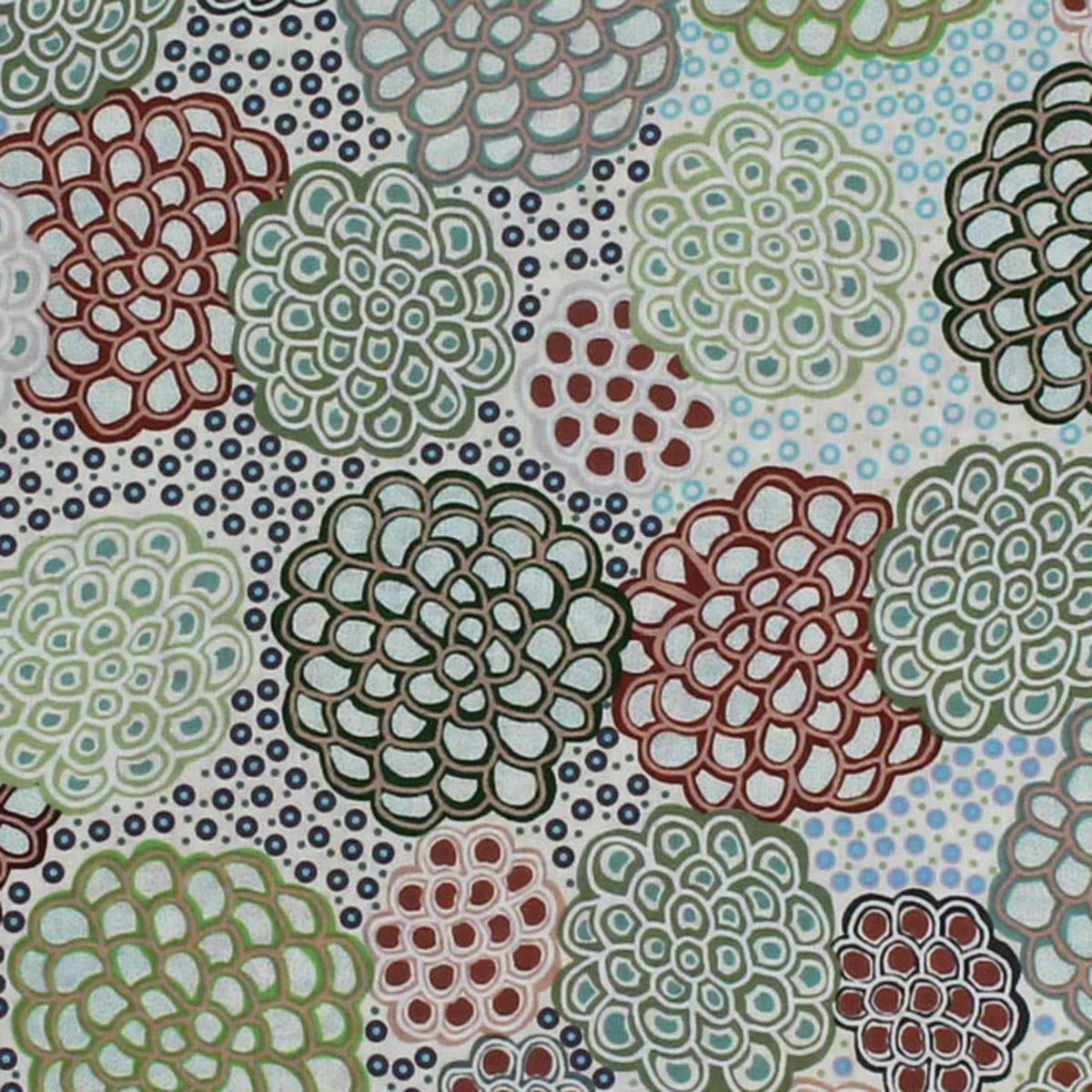 DANCING FLOWERS GREEN by Australian Aboriginal Artist JUNE SMITH