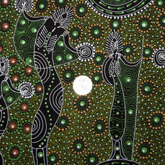 DANCING SPIRIT GREEN by Australian Aboriginal Artist COLLEEN WALLACE