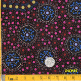 DREAMTIME FLOWERS BLACK by Australian Aboriginal Artist LATISHA DOOLAN