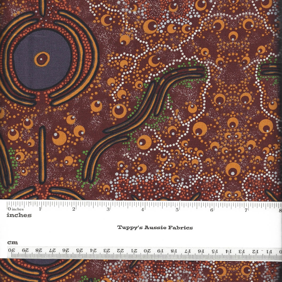 DREAMTIME KNOWLEDGE BURGUNDY by Aboriginal Artist TREPHINA SULTAN