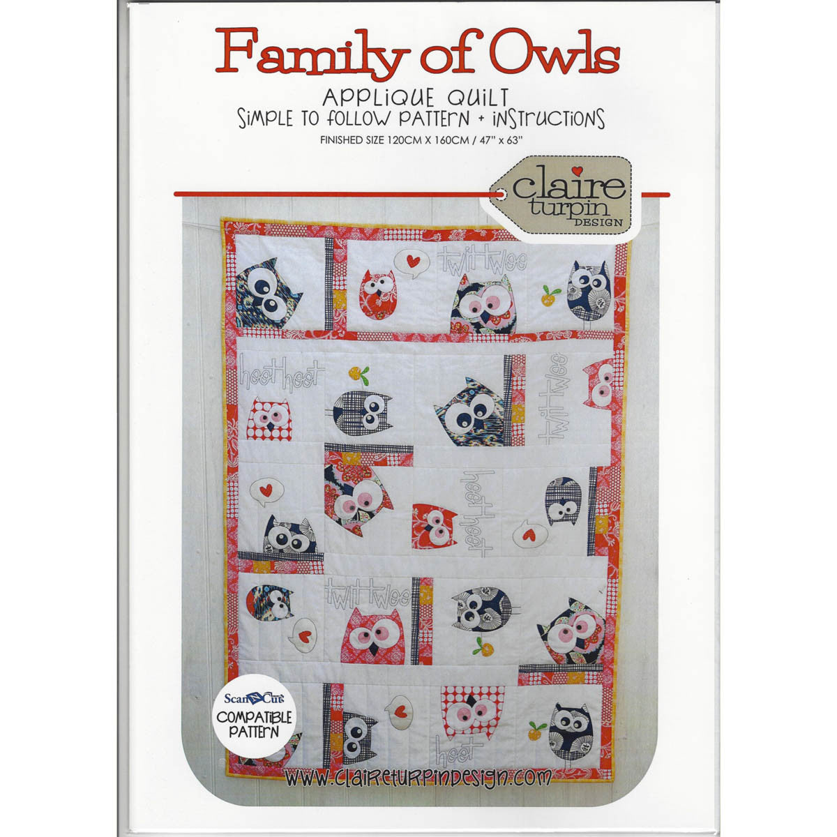 FAMILY OF OWLS - Quilt Pattern - Applique Quilt by Claire Turpin Design