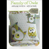 FAMILY OF OWLS -  Pattern - Applique Cushion  by Claire Turpin Design