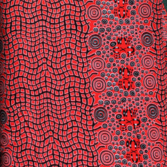 FIRE DREAMING RED by Australian Aboriginal Artist JANET LONG NAKAMARRA