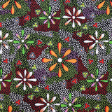 FLOWERS IN THE DESERT BLACK by Australian Aboriginal Artist Lauren Doolan