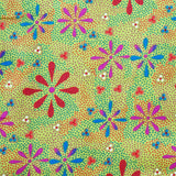 FLOWERS IN THE DESERT GREEN by Australian Aboriginal Artist Lauren Doolan