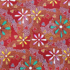 FLOWERS IN THE DESERT RED by Australian Aboriginal Artist Lauren Doolan
