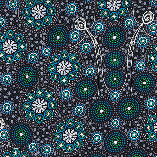 GATHERING BUSH TUCKER BLACK by Aboriginal Artist GLORIA DOOLAN