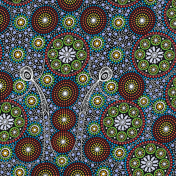 GATHERING BUSH TUCKER GREEN by Aboriginal Artist GLORIA DOOLAN