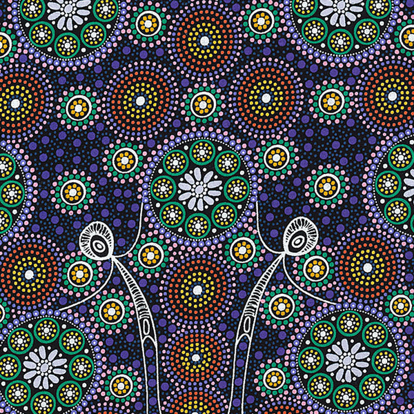GATHERING BUSH TUCKER PURPLE by Aboriginal Artist GLORIA DOOLAN