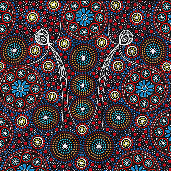GATHERING BUSH TUCKER RED by Aboriginal Artist GLORIA DOOLAN