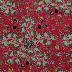 GATHERING BUSH TOMATO RED by Aboriginal Artist A. NUNGARRAYI